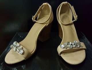 Cream jewelled heels (chunky heel)
