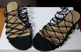 Brand new lattice style lace sandals flats