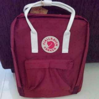 Kanken bag (15 colors newly instock), classsic size, waterproof durable, BNIP BNWT #Maroon red with white strap#