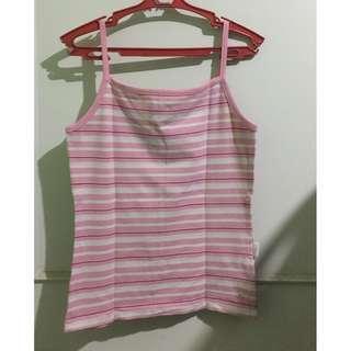 Kashieca Pink and White Striped Spaghetti Strap Top