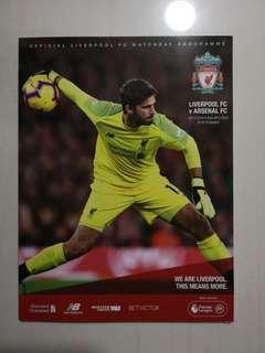 Liverpool vs Arsenal Matchday Programme not Jersey