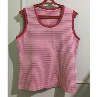 Pink Striped Sleeveless Blouse