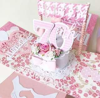 Happy 70 birthday mum birthday Explosion box Card in pink and white