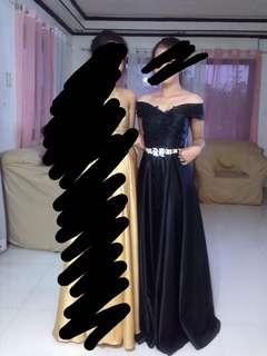 Black Sequined Off Shoulder Ball Gown