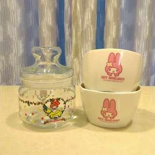 🚚 全新MELODY 瓷碗密封瓶罐共3件