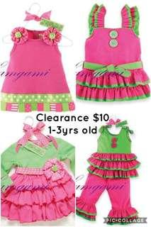 Clearance for girl  dress top pant set cotton material