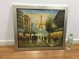 Paris street oil painting (with frame)