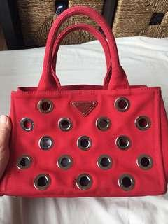 Prada Women Canapa Grommet Small Garden Tote Bag Red