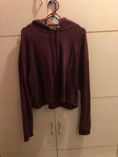 Crop hoodie ( maroon ) H&M