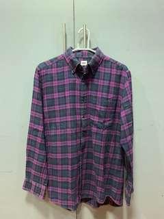 Uniqlo Purple Plaid Long Sleeve Polo