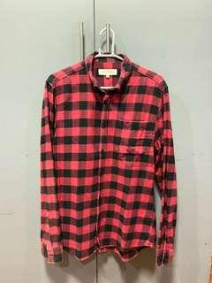 River Island Red Flannel Long Sleeve Polo