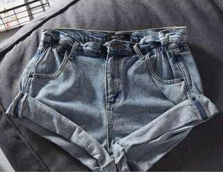 light denim paper bag shorts