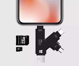 NEW 4 in 1 TF(Micro SD) SD/SDHC Card Reader Compatible for iPhone 5/6/7/8/x series,For iPad Air/Pro/Mini 8 pin series,For USB Computers, For Macbook, and both Micro USB & Type C OTG (Colour:Black)