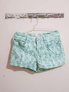 Denim Co Green Tosca With Pink Flamingo Hot Pants