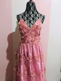 Pink Elegant Backless Gown (For Rent)
