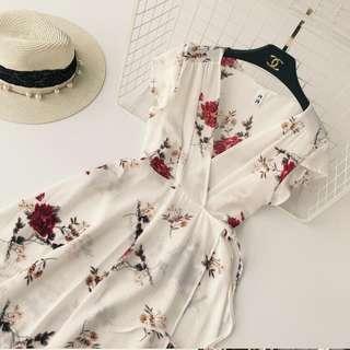 White Floral Wrap Dress