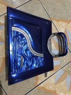 Tas pesta square marble blue