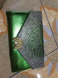 Tas dan dompet payet neon hijau