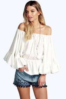 BOOHOO Betsy Off The Shoulder Frill Detail Top