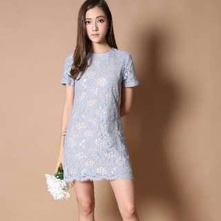 🚚 The Stage Walk Winsome lace Shift Dress in Dusty Blue (Perfect for CNY)