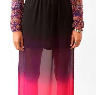 F21 Pink Ombré Chiffon Maxi Skirt