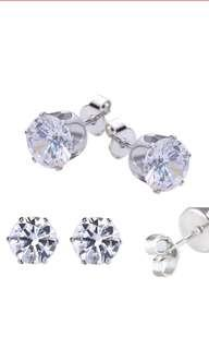🚚 [6 pairs + FREE REGISTERED MAIL] Stainless steel crystal stud earrings