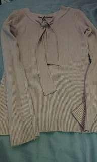 現貨實拍粉色針織領上衣 (本賣場購買600元,免費贈送,送完為止)