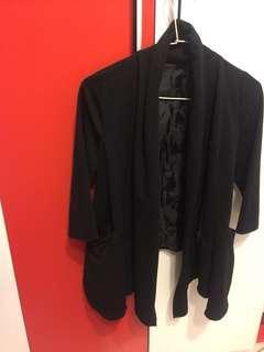 🚚 厚板棉質特色拉鍊西裝七分外套