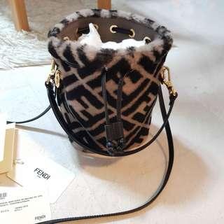 Fendi Bucket Mon Tresor Shearling Fur Mini Bag