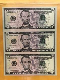 3-in-1 Uncut(2009 Series) $5 Federal Reserve Note