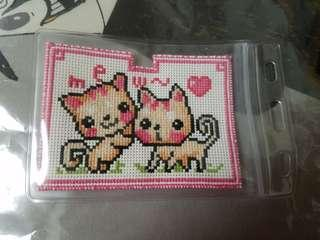 十字綉可愛小貓八達通套