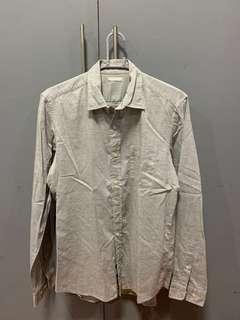 GU Grey Denim Long Sleeve Polo