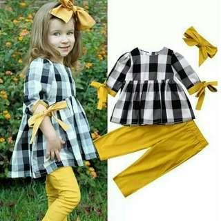 New! Sale Price! Kids Plaid Fashion Terno + Turban (Freesize: S/M/L) Please read description below