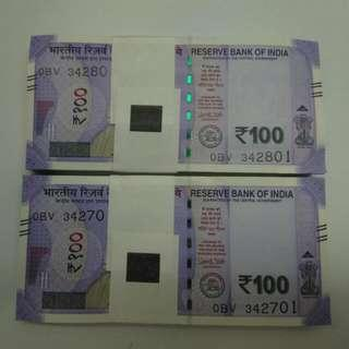 India 100 Rupees 2018 One Stack Unc Running
