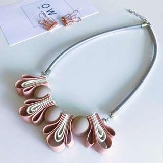 Dusty Pink Ribbon Knot Statement Necklace