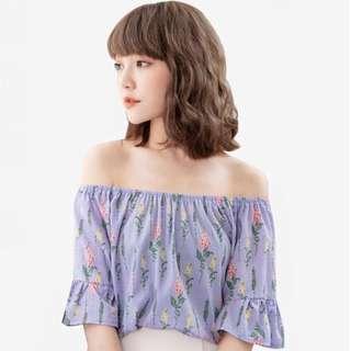 Brand New Lilac Light Purple Floral Off Shoulder Wide Sleeve Top