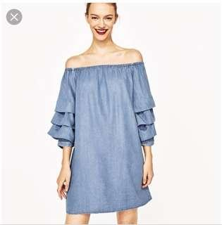 Zara Pleated Sleeves Dress