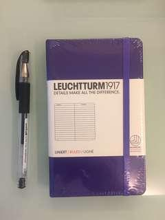 🚚 [BNIP] LEUCHTTURM1917 Pocket-Sized A6 Hardcover Lined Purple Leather Notebook