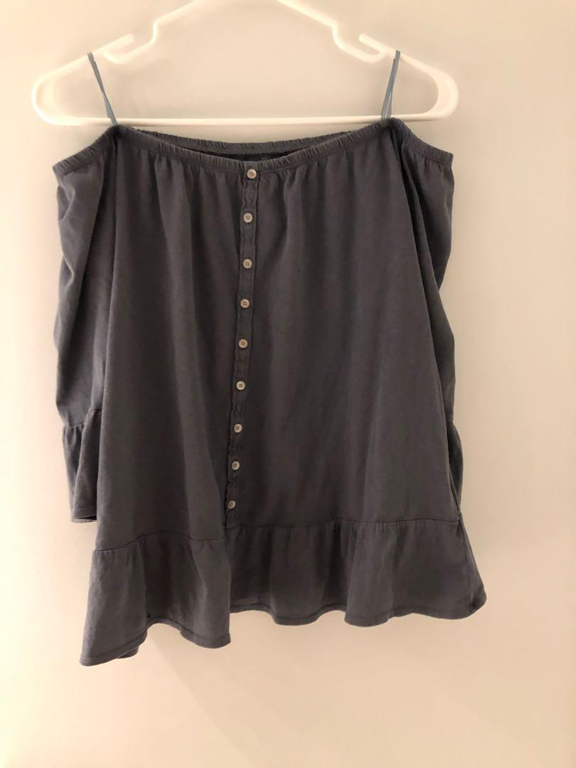 Abercrombie and Fitch off shoulder blue grey shirt