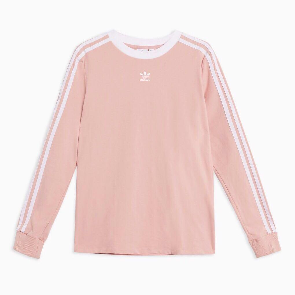Adidas Three Stripe Long Sleeve Shirt Pink