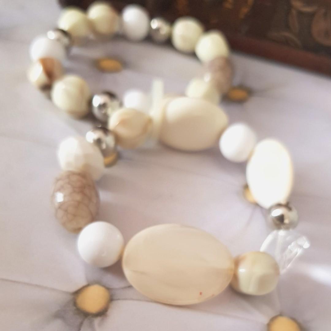 🆕️'Beach' Inspired Statement Cream Bracelet with Rocks