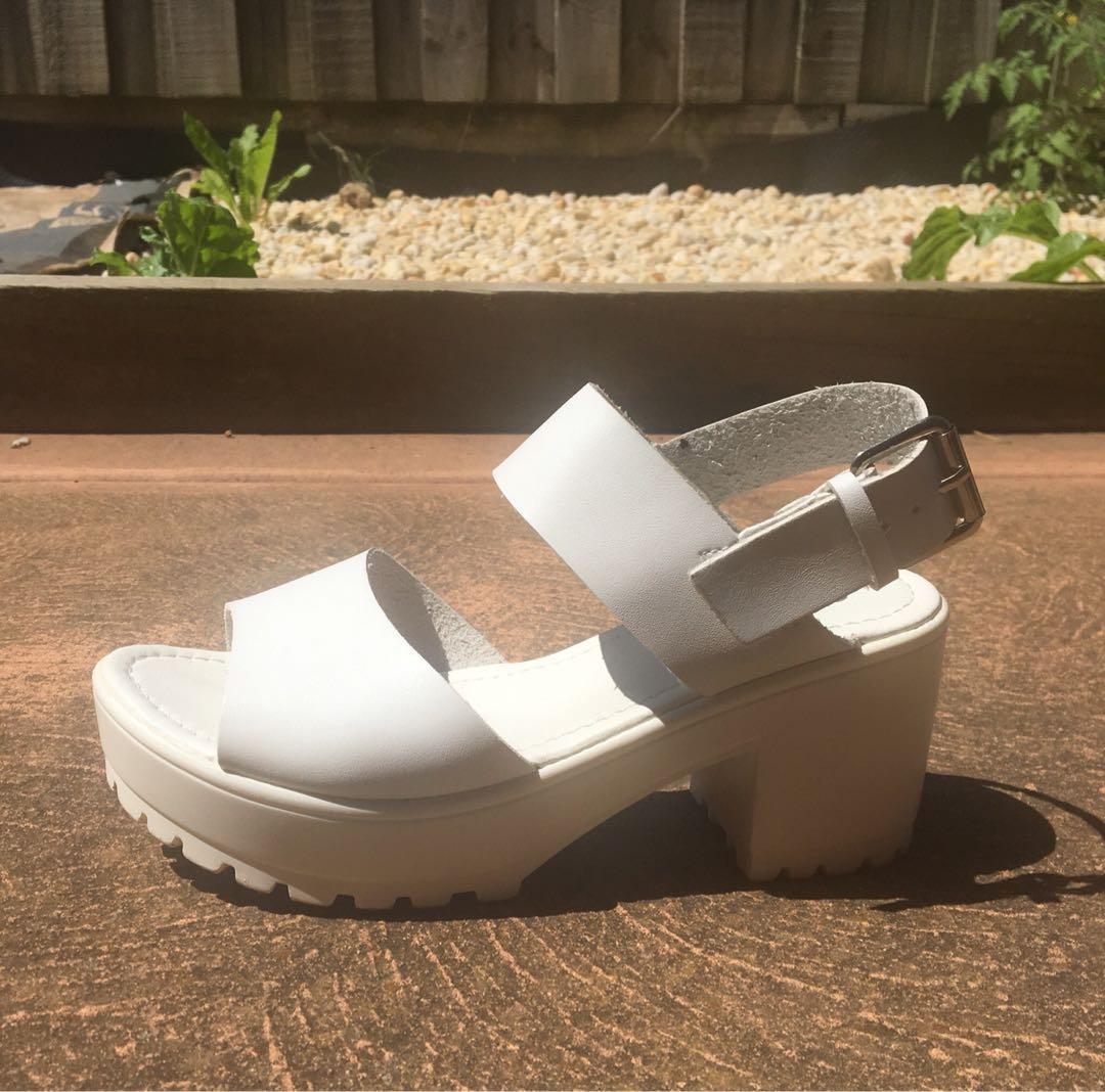 Block platform sandals heels
