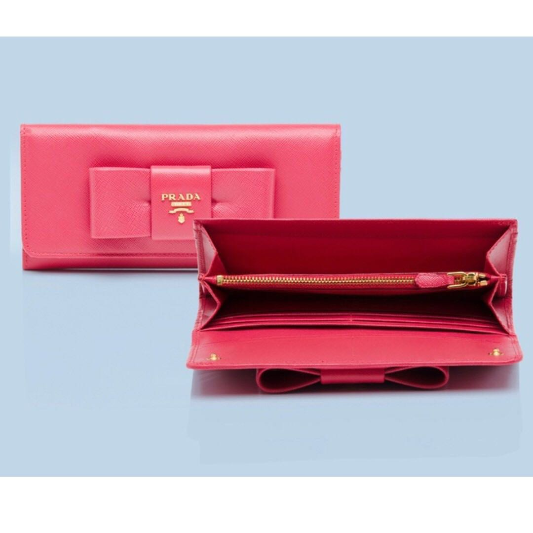 b601c16a1fb5 BN Authentic PRADA Saffiano Bow Continental Wallet, Luxury, Bags ...