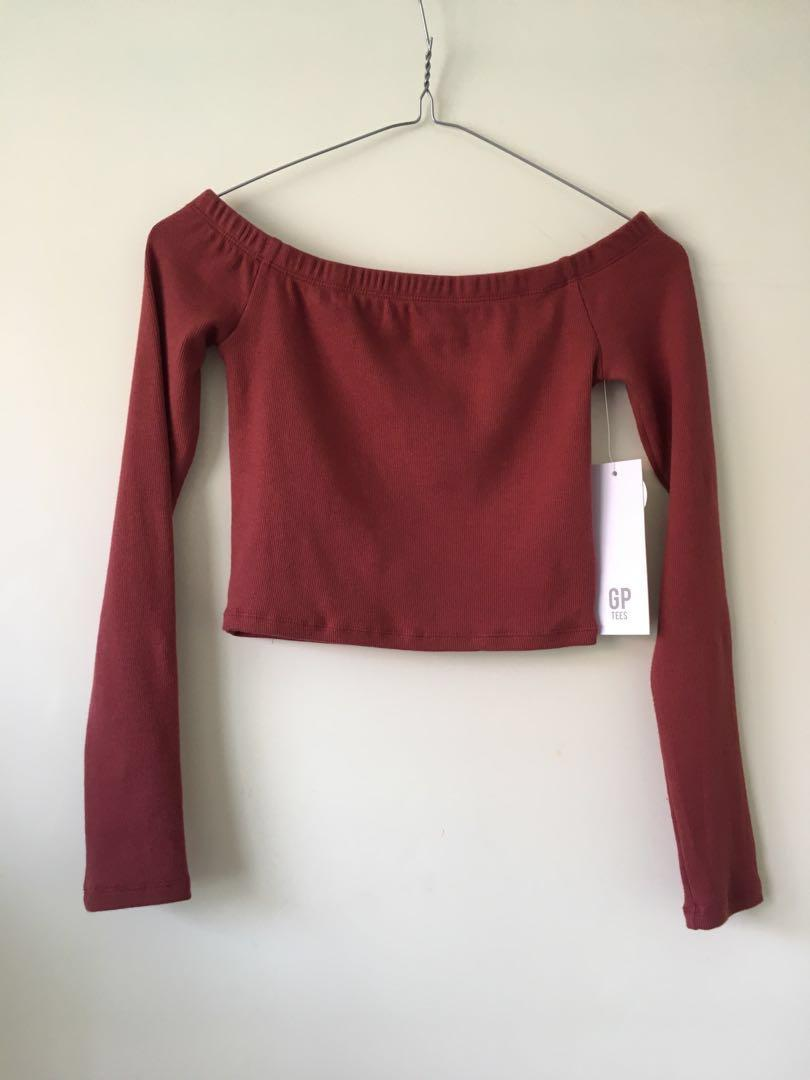 BNWT General Pants Off the Shoulder Long sleeve top Berry Red