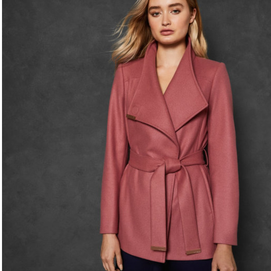 1b627c47c4d9 BNWT Ted Baker RYTAA Short Wool Wrap Coat in Pink Coral
