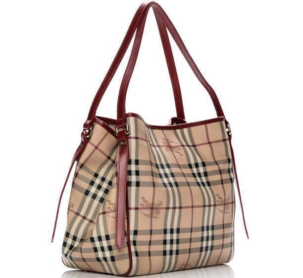 b3a76342c3e1 Burberry Haymarket Tote Bag (Military Red)