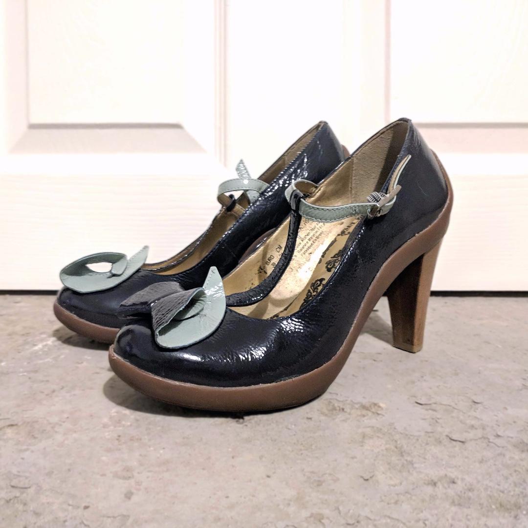 Cravo&Canela Hush Puppies Ankle Strap Heels - EU 38/US W's 7 - Deepest Navy/Mint