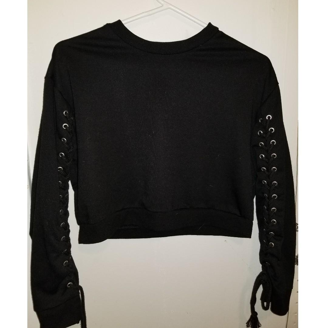 Cropped Sweater with lace-up - Blue Note - Black - Size S