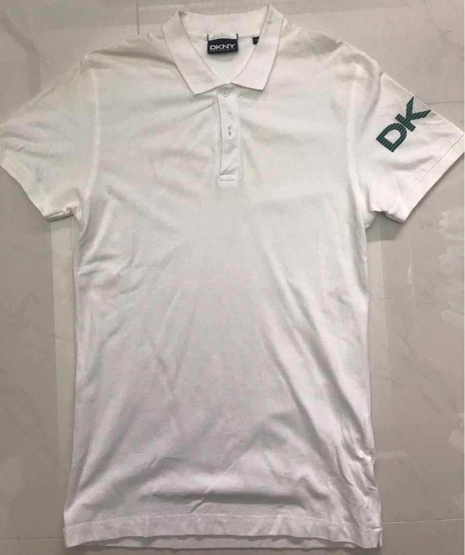 f5ad43b60 DKNY White Polo T, Men's Fashion, Clothes, Tops on Carousell