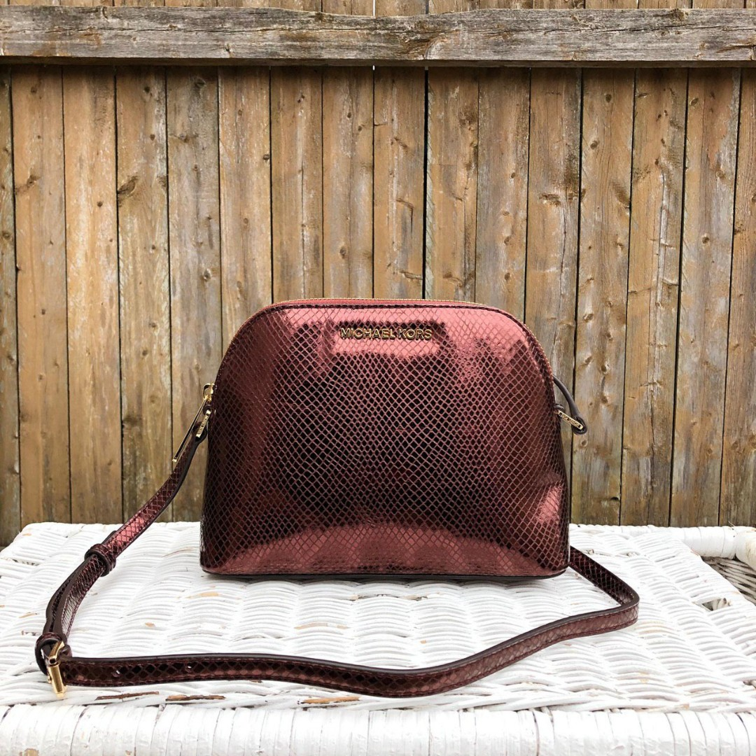 6b5583d4cca174 ETA 4/2 Michael Kors Adele Medium Dome Embossed Crossbody in Merlot ...